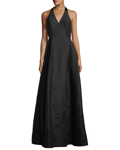Halston Heritage Embroidered V-Neck Halter Gown
