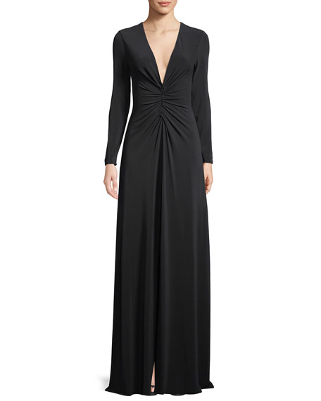 Ruched V-Neck Long-Sleeve Gown