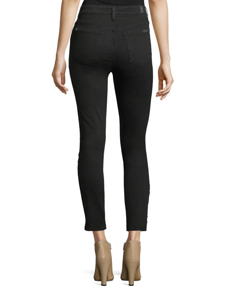 High-Waist Ankle Skinny Jeans w/ Hook-Eye Detail
