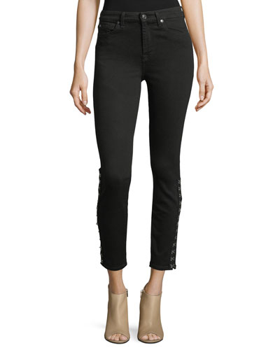 High-Waist Ankle Skinny-Leg Jeans w/ Hook-Eye Detail