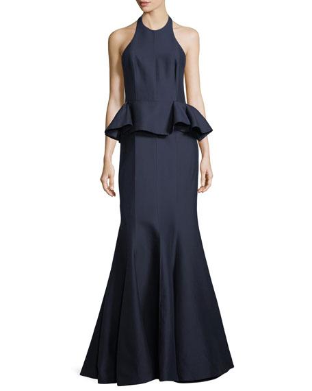 Halston Heritage Sateen Peplum Halter Gown