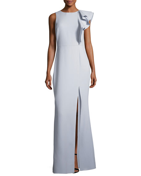 Halston Heritage Asymmetric Flounce Ruffle Evening Gown