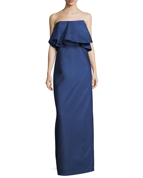 Halston Heritage Strapless Flounce Mesh Stripe Evening Gown