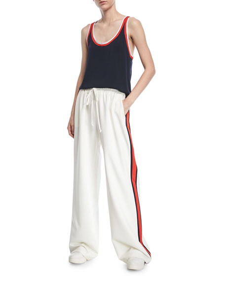 Wide-Leg Italian Cady Track Pants