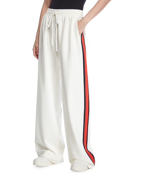 Milly Wide-Leg Italian Cady Track Pants and Matching