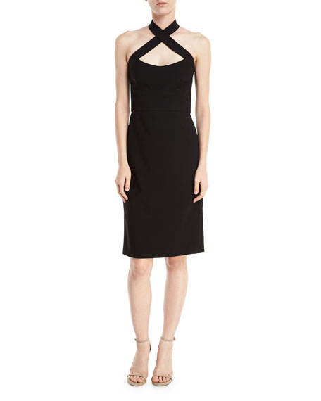 Crisscross Halter Bodycon Cocktail Dress