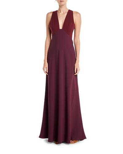 Deep V-Neck Two-Tone Sleeveless Dress
