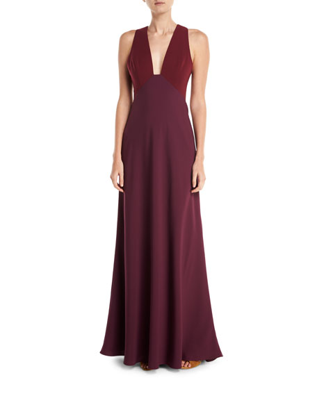 Jill Jill Stuart Deep V-Neck Two-Tone Sleeveless Dress