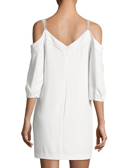 Embellished Straps Cold-Shoulder Crepe Day Dress