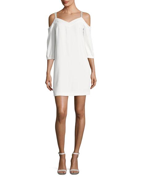 Trina Turk Embellished Straps Cold-Shoulder Crepe Day Dress