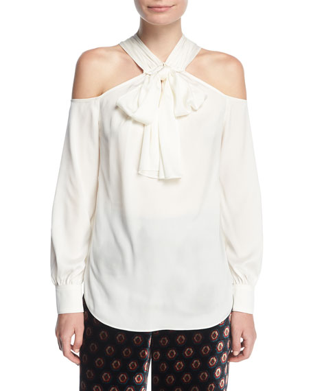 Halter Bow-Tie Long-Sleeve Silk Blouse