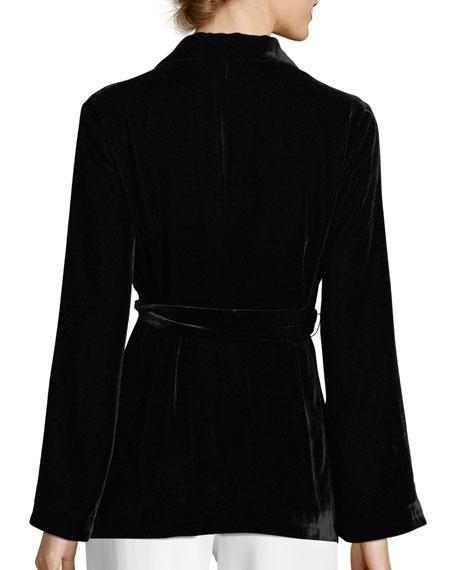 Draped Velvet Bell-Sleeve Smoking Jacket