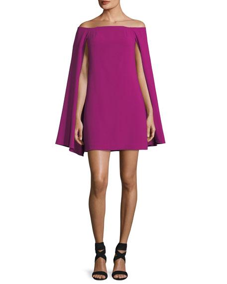 Crepe Off-the-Shoulder Cape Dress