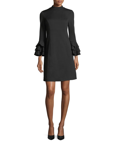 Trina Turk Mock-Neck Tiered Bell-Sleeve Ponte Cocktail Dress