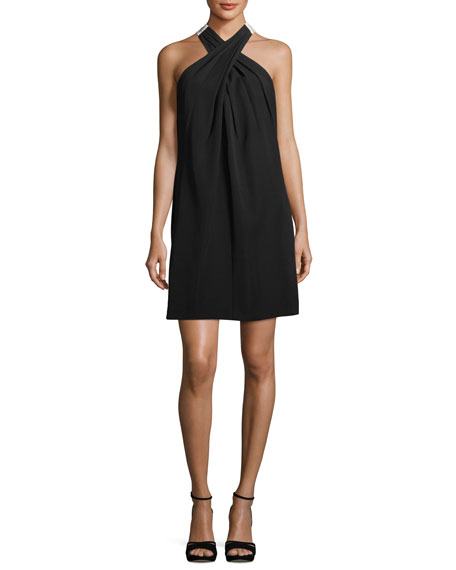 Trina Turk Flawless Finish Crossover Dress w/ Contrast