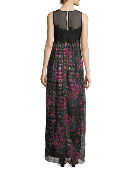 Sleeveless Bouquet-Print Lace Bodice Maxi Dress