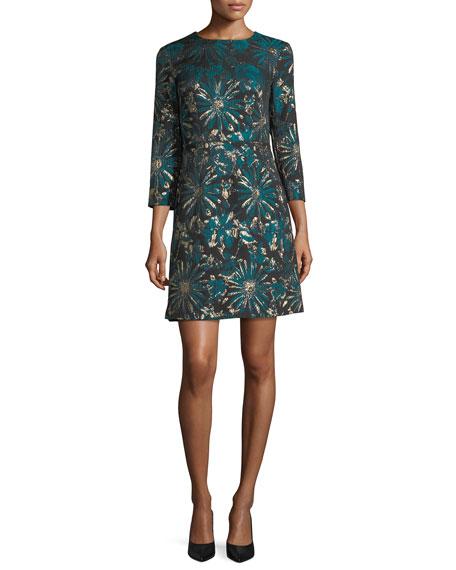 Lulu Glen 3/4 Sleeves Metallic Jacquard Mini Dress
