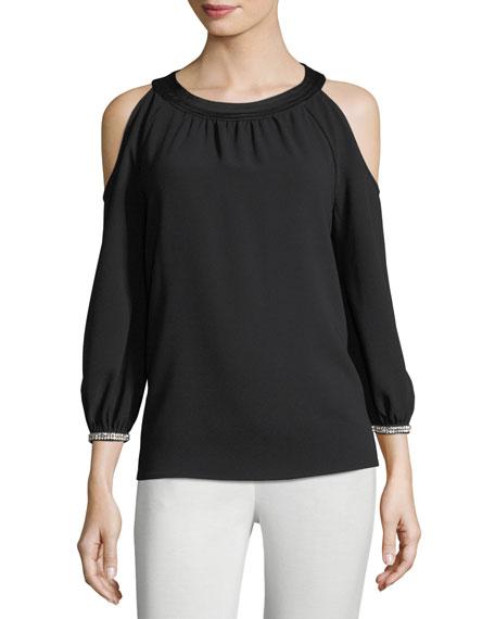 Trina Turk Round-Neck Crepe Cold-Shoulder Top w/ Embellished