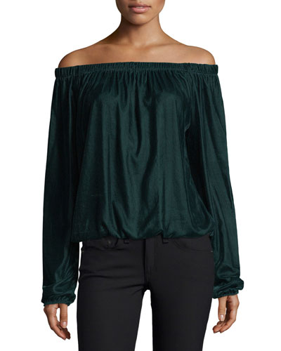 Children of the Lilith Off-the-Shoulder Velvet Blouse