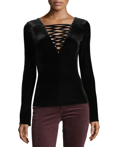 Coven Lace-Up Long-Sleeve Velvet Top