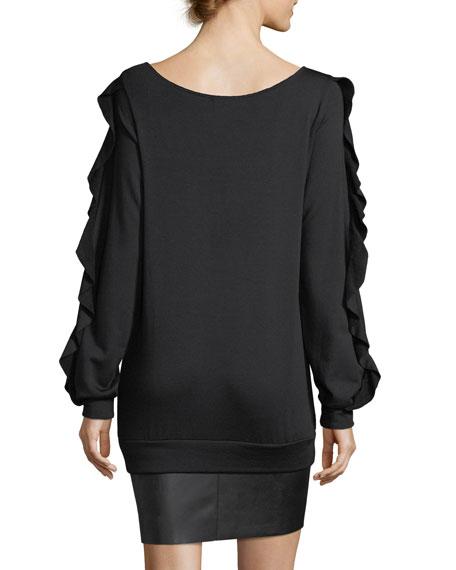 Demon Scoop-Neck Long-Sleeve Dress w/ Faux-Leather Hem