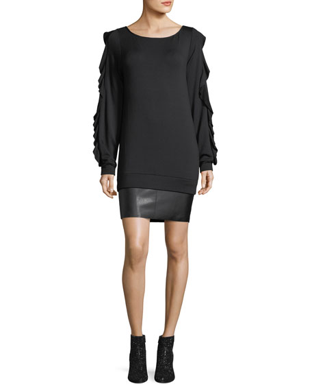 Bailey 44 Demon Scoop-Neck Long-Sleeve Dress w/ Faux-Leather