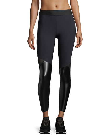 Matrix Performance Leggings with Faux-Leather Panels