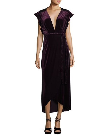 MISA Los Angeles Carolina V-Neck Cap-Sleeve Wrap Maxi