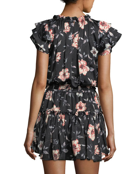 Cecile Split-Neck Floral-Printed Satin Dress