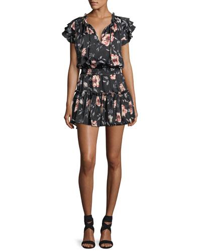 Cecile Split-Neck Floral-Printed Satin Dress