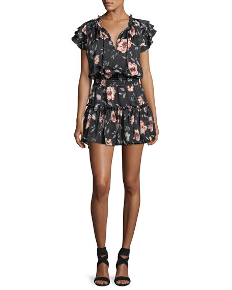 MISA Los Angeles Cecile Split-Neck Floral-Printed Satin Dress