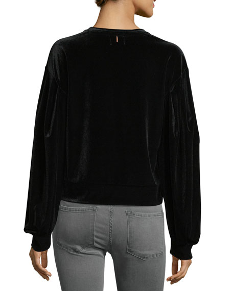 Champagne Crewneck Velvet Sweatshirt