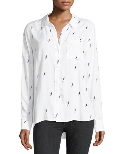 Rocsi Button-Front Single-Pocket Shirt w/ Lighting Bolt Print