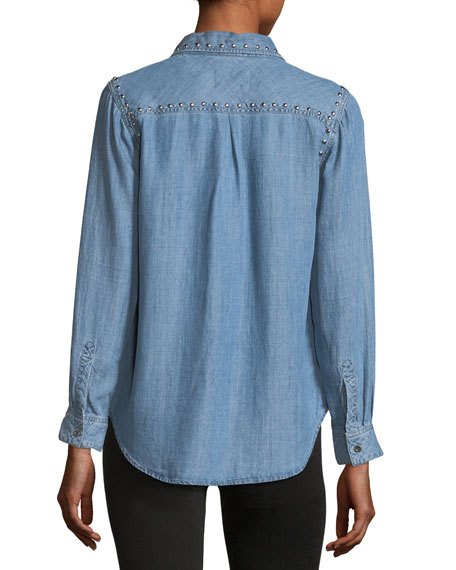 Ingrid Button-Front Chambray Shirt w/ Studded Trim