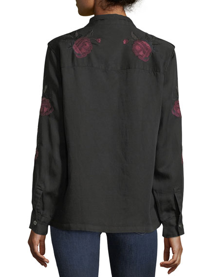 Elliot Button-Front Shirt with Floral-Embroidery