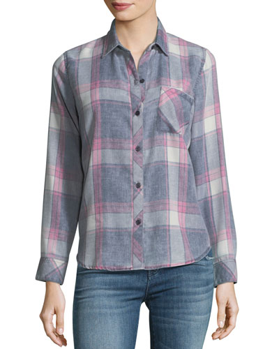 Hunter Button-Front Long-Sleeve Plaid Shirt, Storm Pink Cloud Wash