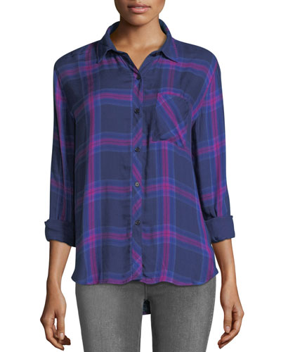 Hunter Button-Front Long-Sleeve Plaid Shirt, Navy Ultraviolet