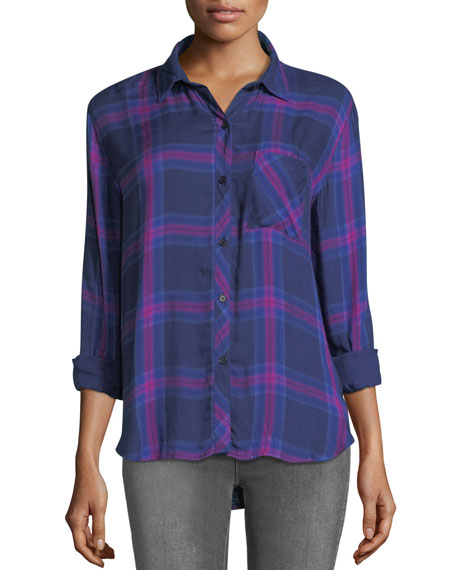 Hunter Button-Front Long-Sleeve Plaid Shirt, Navy Ultraviolet