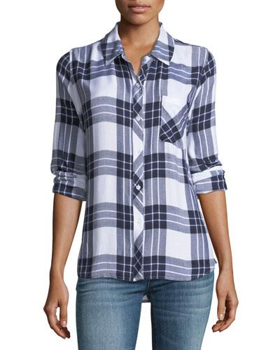 Hunter Button-Front Long-Sleeve Plaid Shirt