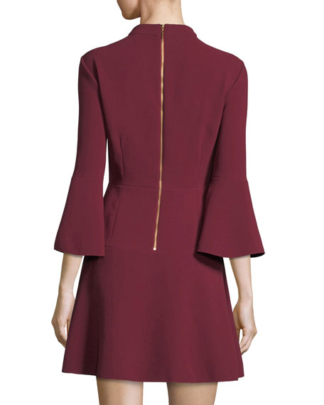 Califa Mock-Neck Bell-Sleeve Crepe Mini Dress