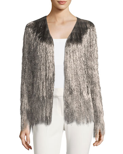 Isla Metallic Fringe Cardigan Jacket