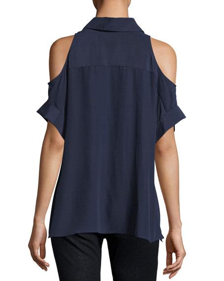 Edris Button-Front Cold-Shoulder Drapey Blouse