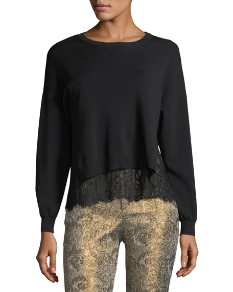 Alice + Olivia Iva Long-Sleeve Crewneck Sweater w/
