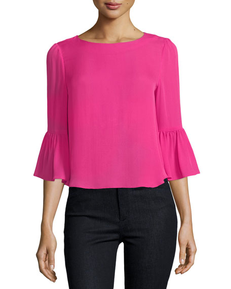 Bernice 3/4 Ruffle-Sleeve Back-Zip Top