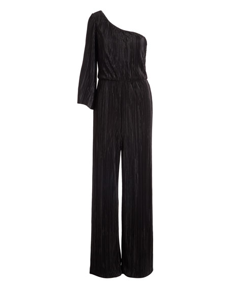 Keiko Pleated One-Shoulder Wide-Leg Jumpsuit