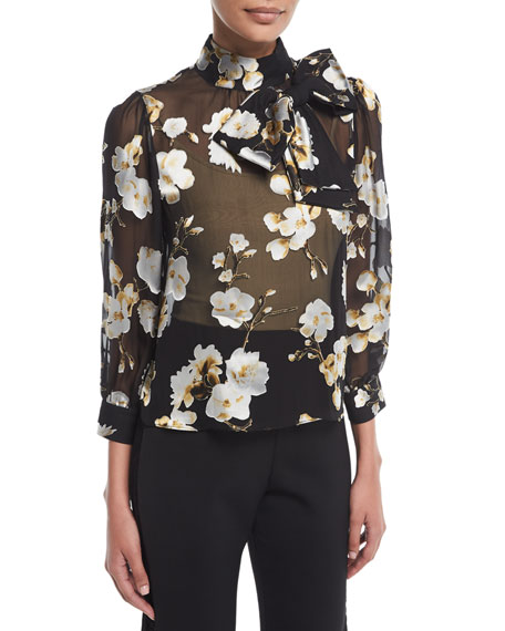 Violeta Sheer Floral-Print Bow-Neck Blouse
