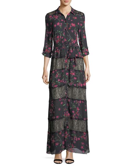 Alice + Olivia Sina Tie-Waist Paneled Floral-Print &