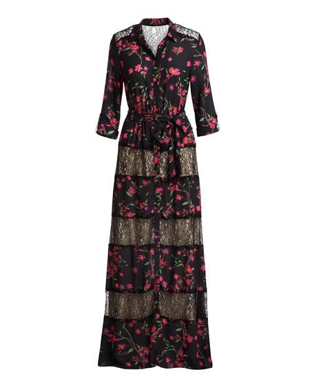 Sina Tie-Waist Paneled Floral-Print & Lace Long Dress