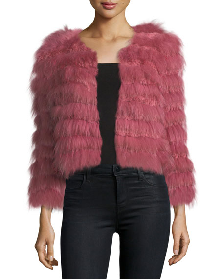 Fawn Fur Long-Sleeve Cropped Jacket