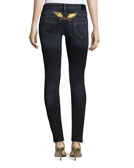 Marilyn Distressed Studded Skinny Jeans w/ Zip Cuffs